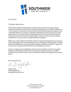 Jeremy Lewis Letter