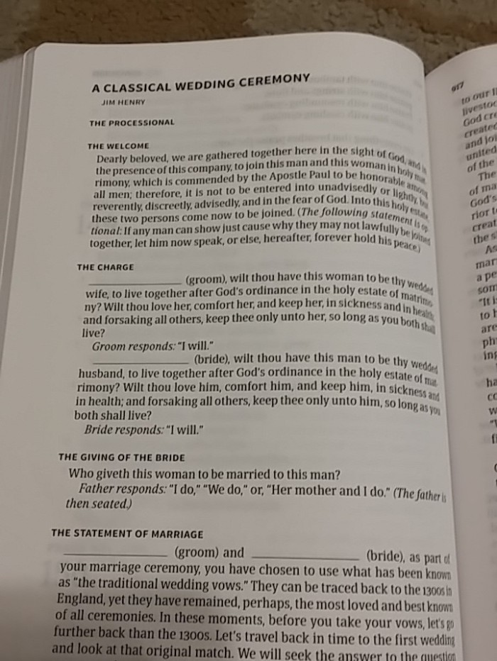 Pastor's bible classical wedding