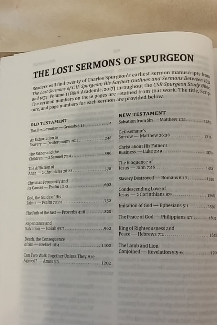 lost sermons list